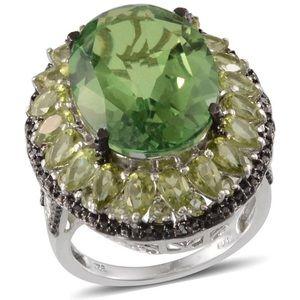 Chartreuse Quartz, Peridot, Black Diamond Ring
